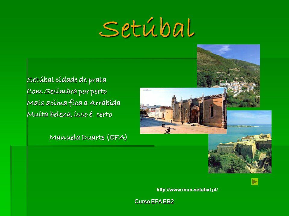 Curso EFA EB2 Setúbal Setúbal cidade de prata Com Sesimbra por perto Mais acima fica a Arrábida Muita beleza, isso é certo Manuela Duarte (EFA) http://www.mun-setubal.pt/