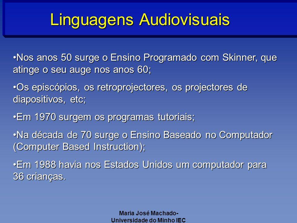 Maria José Machado- Universidade do Minho IEC Linguagens Audiovisuais Nos anos 50 surge o Ensino Programado com Skinner, que atinge o seu auge nos anos 60;Nos anos 50 surge o Ensino Programado com Skinner, que atinge o seu auge nos anos 60; Os episcópios, os retroprojectores, os projectores de diapositivos, etc;Os episcópios, os retroprojectores, os projectores de diapositivos, etc; Em 1970 surgem os programas tutoriais;Em 1970 surgem os programas tutoriais; Na década de 70 surge o Ensino Baseado no Computador (Computer Based Instruction);Na década de 70 surge o Ensino Baseado no Computador (Computer Based Instruction); Em 1988 havia nos Estados Unidos um computador para 36 crianças.Em 1988 havia nos Estados Unidos um computador para 36 crianças.