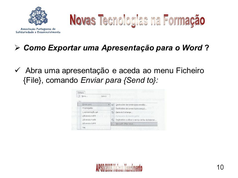 10 Como Exportar uma Apresentação para o Word .