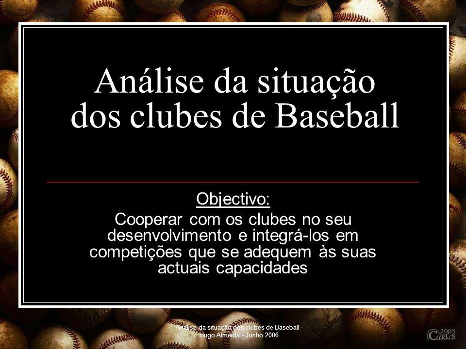 Análise da situação dos clubes de Baseball - Hugo Almeida - Junho 2006 Análise da situação dos clubes de Baseball Objectivo: Cooperar com os clubes no