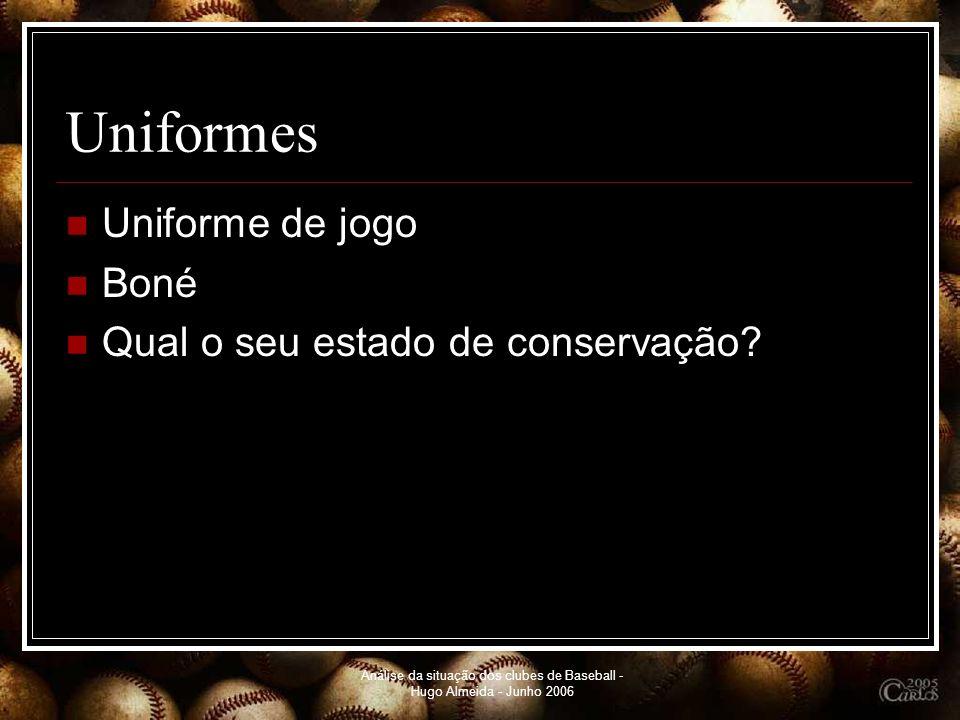 Análise da situação dos clubes de Baseball - Hugo Almeida - Junho 2006 Uniformes Uniforme de jogo Boné Qual o seu estado de conservação?