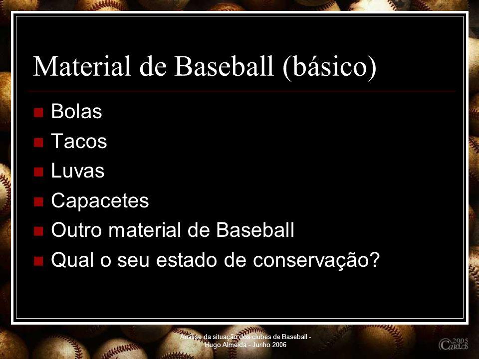 Análise da situação dos clubes de Baseball - Hugo Almeida - Junho 2006 Material de Baseball (básico) Bolas Tacos Luvas Capacetes Outro material de Bas
