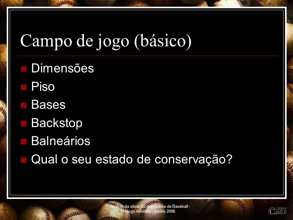 Análise da situação dos clubes de Baseball - Hugo Almeida - Junho 2006 Campo de jogo (básico) Dimensões Piso Bases Backstop Balneários Qual o seu esta