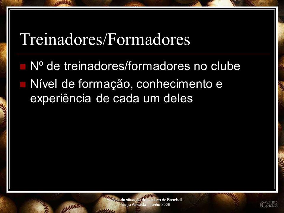 Análise da situação dos clubes de Baseball - Hugo Almeida - Junho 2006 Treinadores/Formadores Nº de treinadores/formadores no clube Nível de formação,