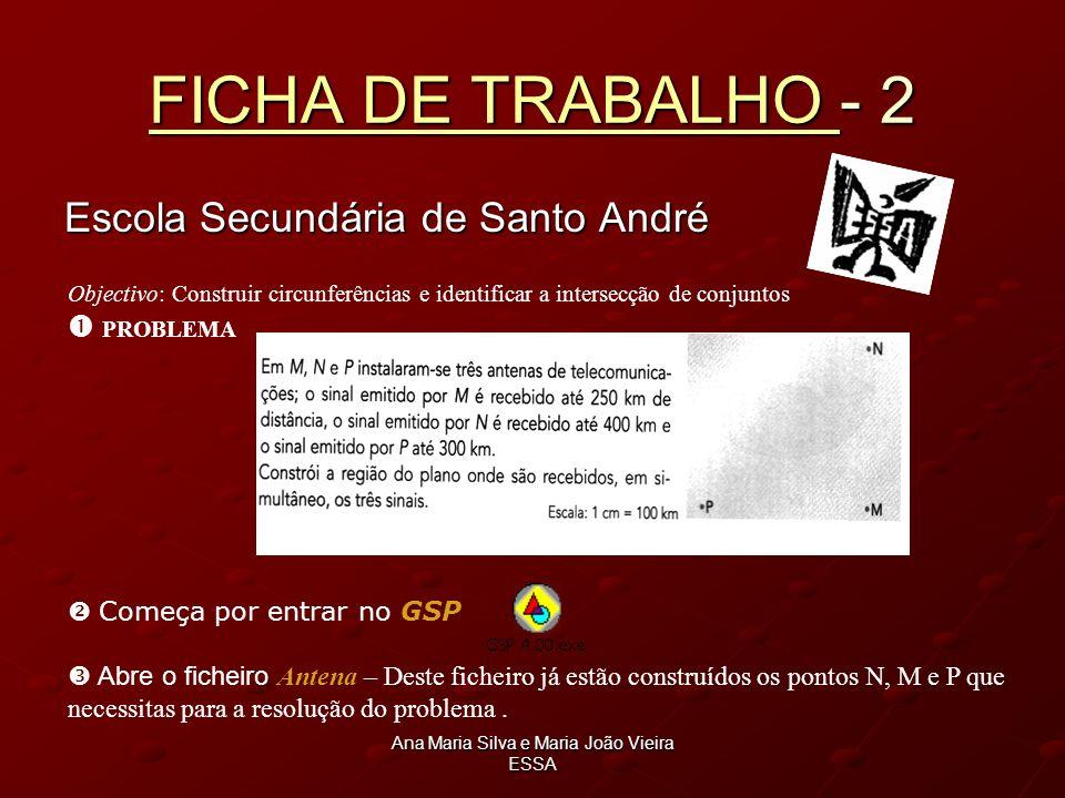 Ana Maria Silva e Maria João Vieira ESSA FICHA DE TRABALHO FICHA DE TRABALHO - 2 FICHA DE TRABALHO Escola Secundária de Santo André Objectivo: Constru