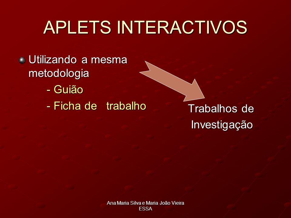 Ana Maria Silva e Maria João Vieira ESSA APLETS INTERACTIVOS Utilizando a mesma metodologia - Guião - Ficha de trabalho Trabalhos de Trabalhos de Inve