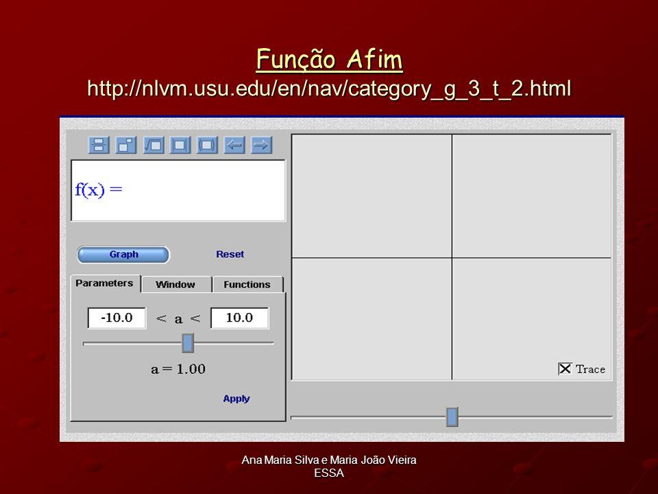 Ana Maria Silva e Maria João Vieira ESSA Função Afim Função Afim http://nlvm.usu.edu/en/nav/category_g_3_t_2.html Função Afim