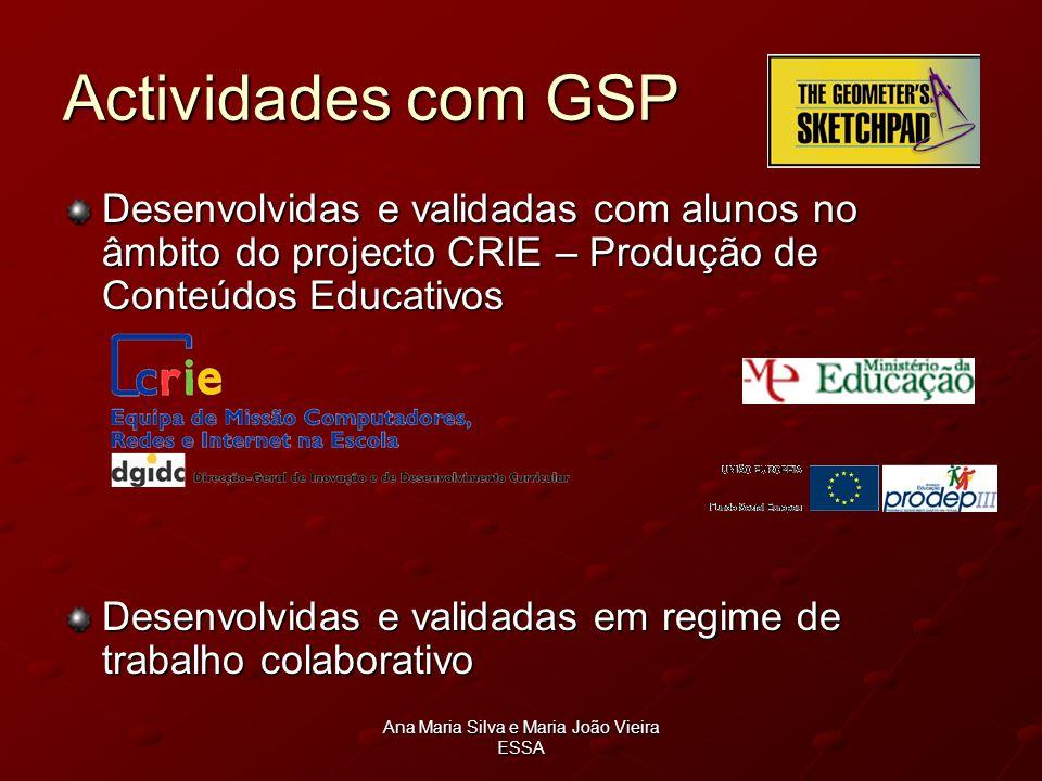 Ana Maria Silva e Maria João Vieira ESSA Actividades com GSP Desenvolvidas e validadas com alunos no âmbito do projecto CRIE – Produção de Conteúdos E