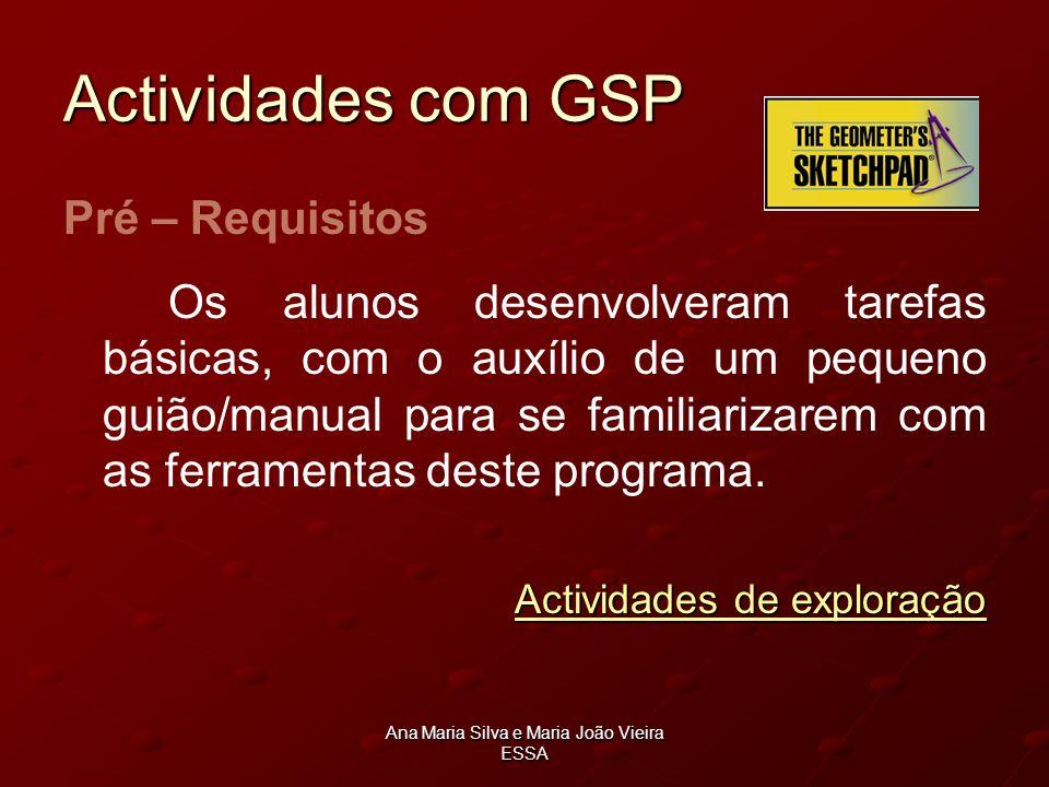 Ana Maria Silva e Maria João Vieira ESSA Actividades com GSP Pré – Requisitos Os alunos desenvolveram tarefas básicas, com o auxílio de um pequeno gui
