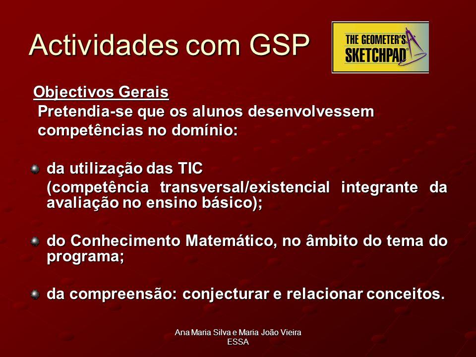 Ana Maria Silva e Maria João Vieira ESSA Actividades com GSP Objectivos Gerais Objectivos Gerais Pretendia-se que os alunos desenvolvessem Pretendia-s