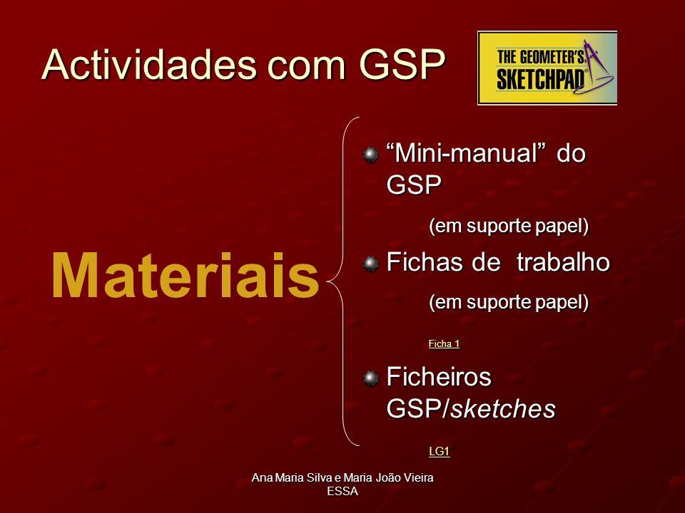 Ana Maria Silva e Maria João Vieira ESSA Actividades com GSP Materiais Mini-manual do GSP (em suporte papel) (em suporte papel) Fichas de trabalho (em