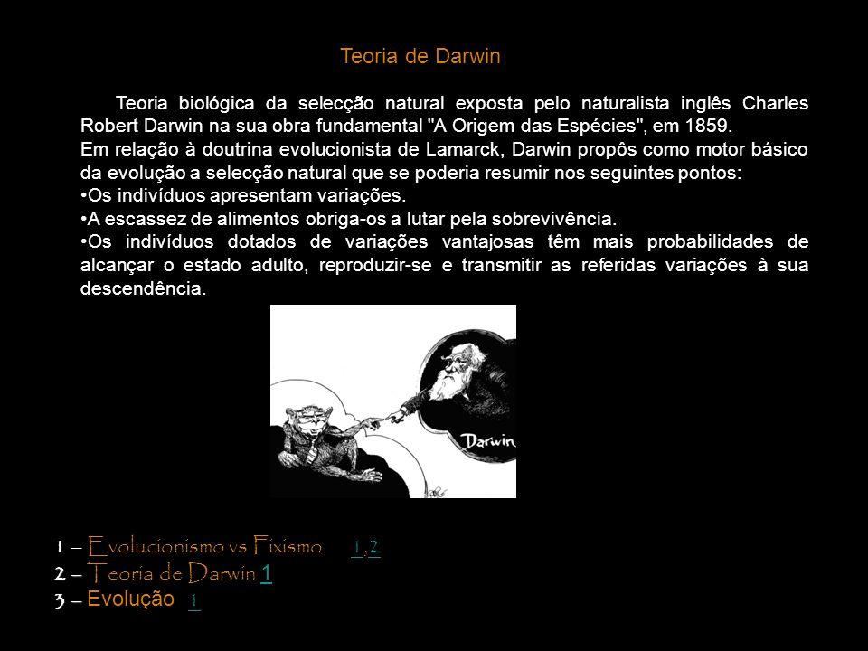 Teoria biológica da selecção natural exposta pelo naturalista inglês Charles Robert Darwin na sua obra fundamental
