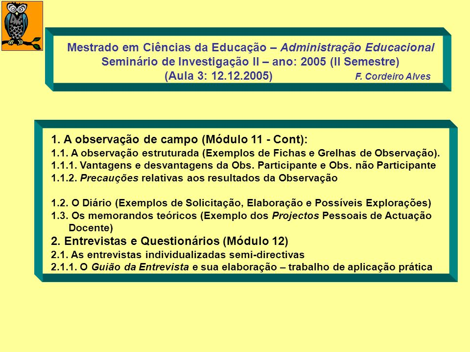 1. A observação de campo (Módulo 11 - Cont): 1.1. A observação estruturada (Exemplos de Fichas e Grelhas de Observação). 1.1.1. Vantagens e desvantage