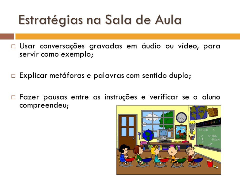 Estratégias na Sala de Aula Usar conversações gravadas em áudio ou vídeo, para servir como exemplo; Explicar metáforas e palavras com sentido duplo; F