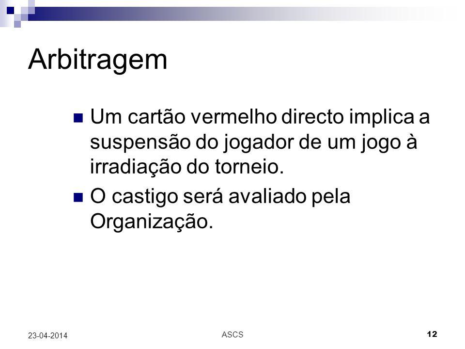 ASCS 12 23-04-2014 Arbitragem Um cartão vermelho directo implica a suspensão do jogador de um jogo à irradiação do torneio.