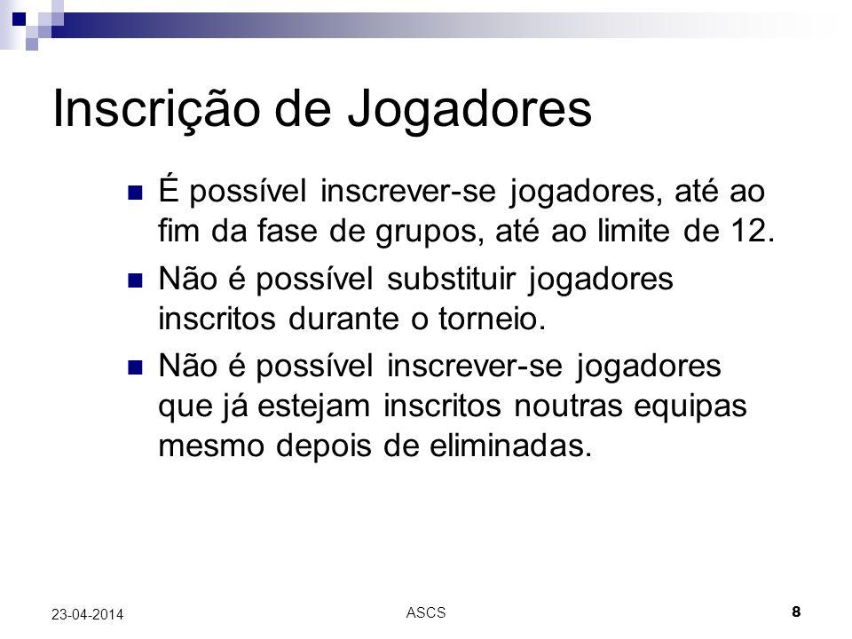 ASCS 8 23-04-2014 Inscrição de Jogadores É possível inscrever-se jogadores, até ao fim da fase de grupos, até ao limite de 12.