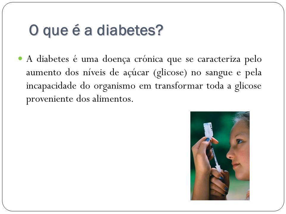 O que é a diabetes? A diabetes é uma doença crónica que se caracteriza pelo aumento dos níveis de açúcar (glicose) no sangue e pela incapacidade do or