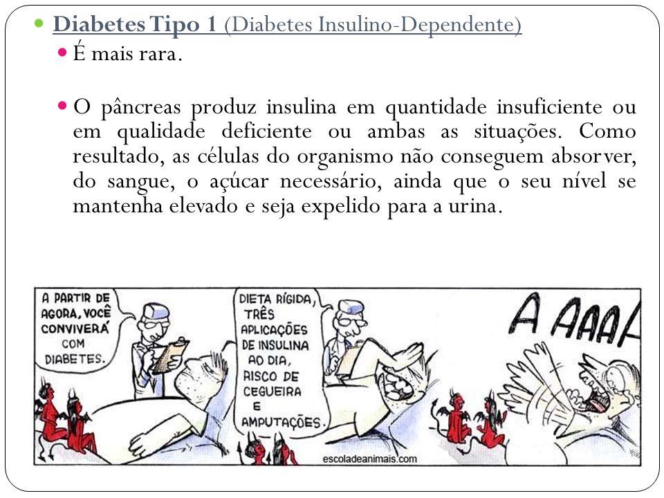 Diabetes Tipo 1 (Diabetes Insulino-Dependente) É mais rara. O pâncreas produz insulina em quantidade insuficiente ou em qualidade deficiente ou ambas