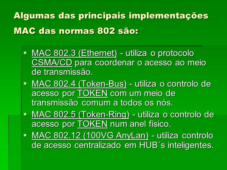 Algumas das principais implementações MAC das normas 802 são: MAC 802.3 (Ethernet) - utiliza o protocolo CSMA/CD para coordenar o acesso ao meio de tr