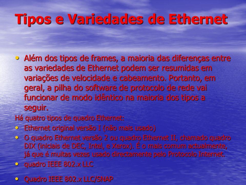 Tipos e Variedades de Ethernet Além dos tipos de frames, a maioria das diferenças entre as variedades de Ethernet podem ser resumidas em variações de