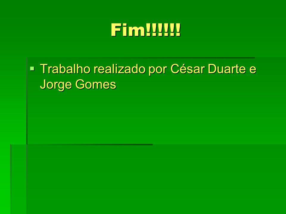 Fim!!!!!! Trabalho realizado por César Duarte e Jorge Gomes Trabalho realizado por César Duarte e Jorge Gomes