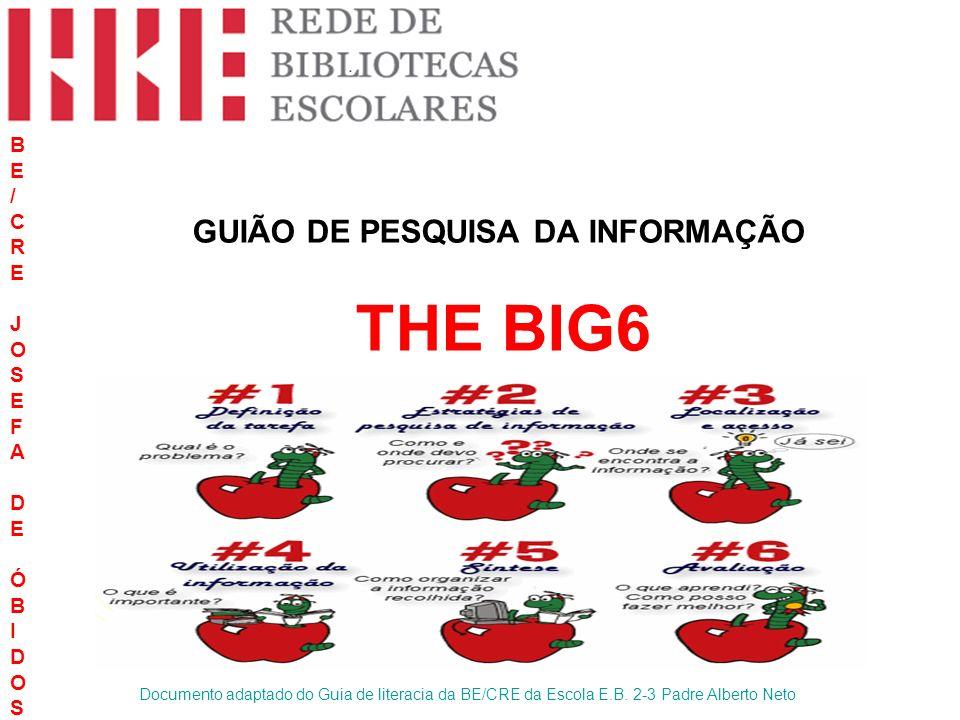 GUIÃO DE PESQUISA DA INFORMAÇÃO THE BIG6 BE/CREJOSEFADEÓBIDOS BE/CREJOSEFADEÓBIDOS Documento adaptado do Guia de literacia da BE/CRE da Escola E.B. 2-