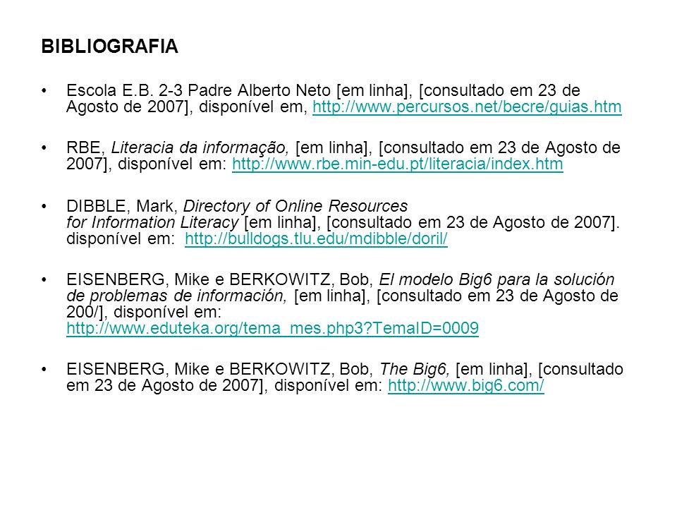 BIBLIOGRAFIA Escola E.B. 2-3 Padre Alberto Neto [em linha], [consultado em 23 de Agosto de 2007], disponível em, http://www.percursos.net/becre/guias.