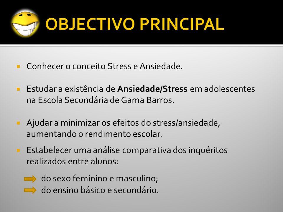 Conhecer o conceito Stress e Ansiedade. Estudar a existência de Ansiedade/Stress em adolescentes na Escola Secundária de Gama Barros. Ajudar a minimiz