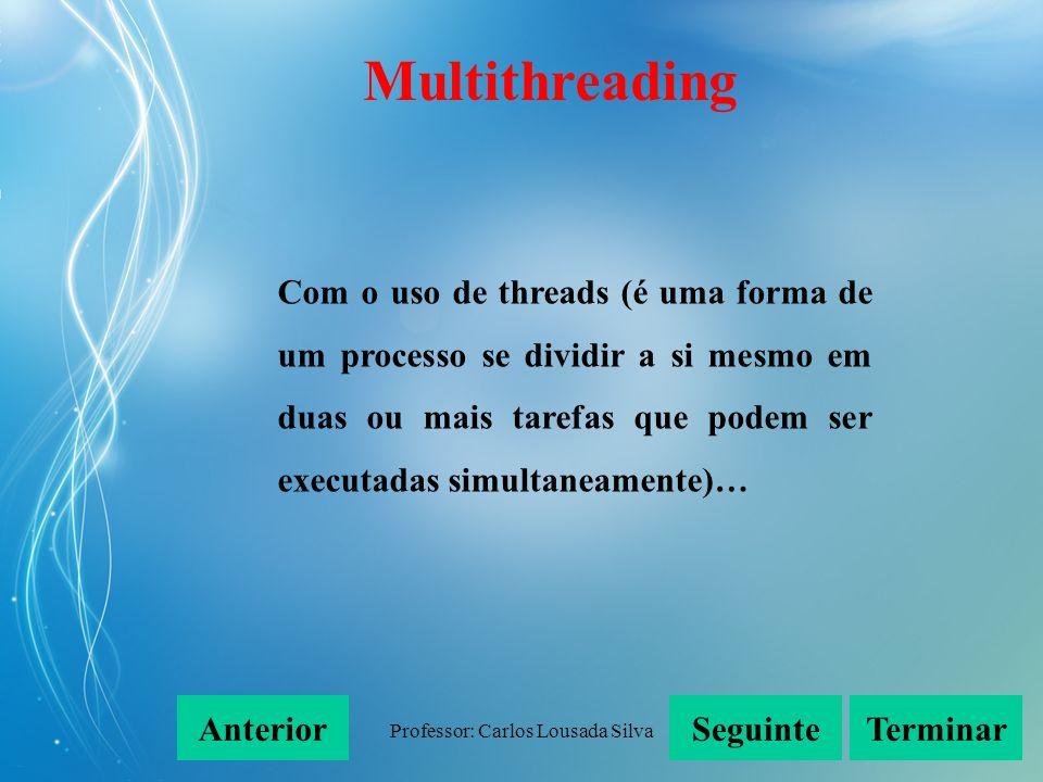 Professor: Carlos Lousada Silva Com o uso de threads (é uma forma de um processo se dividir a si mesmo em duas ou mais tarefas que podem ser executada