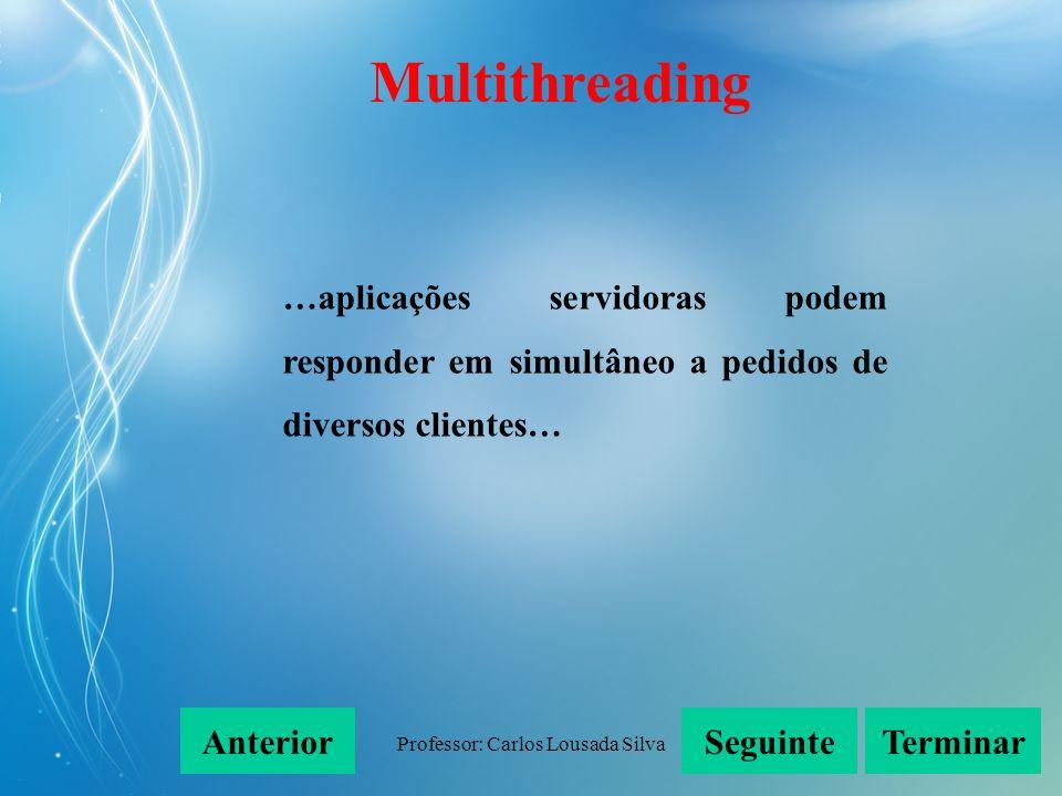 Professor: Carlos Lousada Silva …aplicações servidoras podem responder em simultâneo a pedidos de diversos clientes… SeguinteAnteriorTerminar Multithr