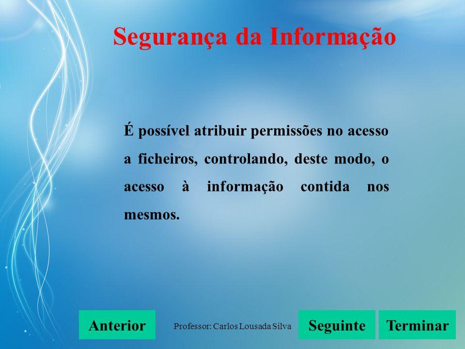 Professor: Carlos Lousada Silva É possível atribuir permissões no acesso a ficheiros, controlando, deste modo, o acesso à informação contida nos mesmo