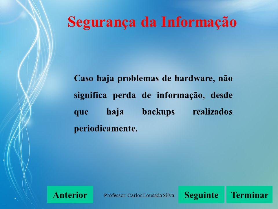 Professor: Carlos Lousada Silva Caso haja problemas de hardware, não significa perda de informação, desde que haja backups realizados periodicamente.