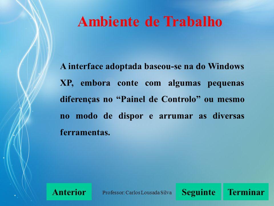 Professor: Carlos Lousada Silva A interface adoptada baseou-se na do Windows XP, embora conte com algumas pequenas diferenças no Painel de Controlo ou