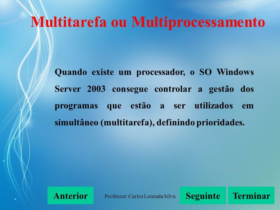 Professor: Carlos Lousada Silva Quando existe um processador, o SO Windows Server 2003 consegue controlar a gestão dos programas que estão a ser utili
