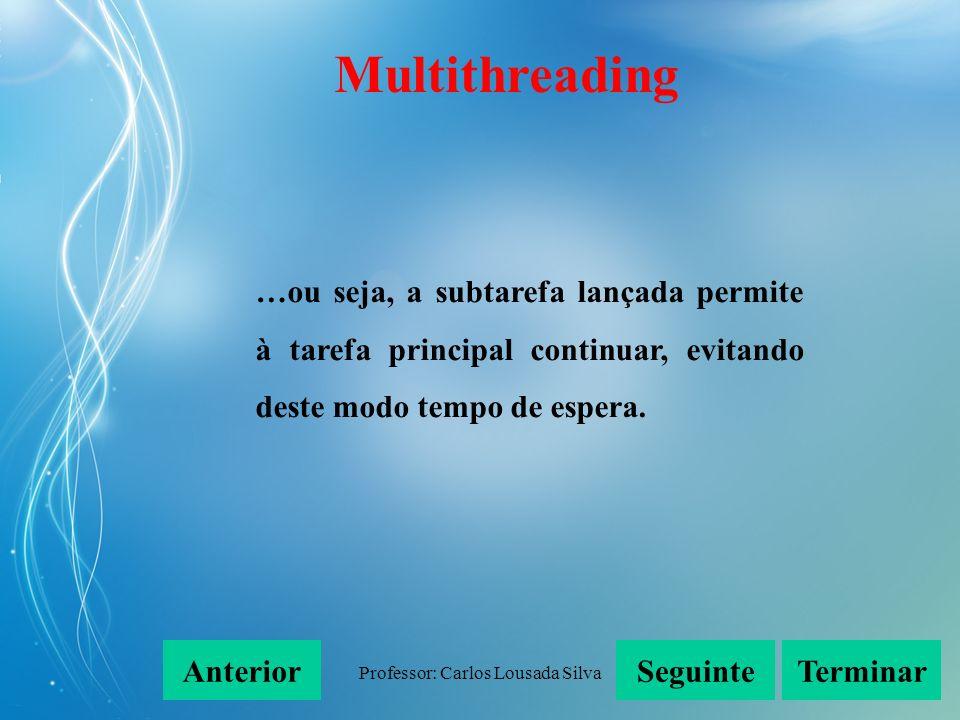 Professor: Carlos Lousada Silva Com o uso de threads (é uma forma de um processo se dividir a si mesmo em duas ou mais tarefas que podem ser executadas simultaneamente)… SeguinteAnteriorTerminar Multithreading
