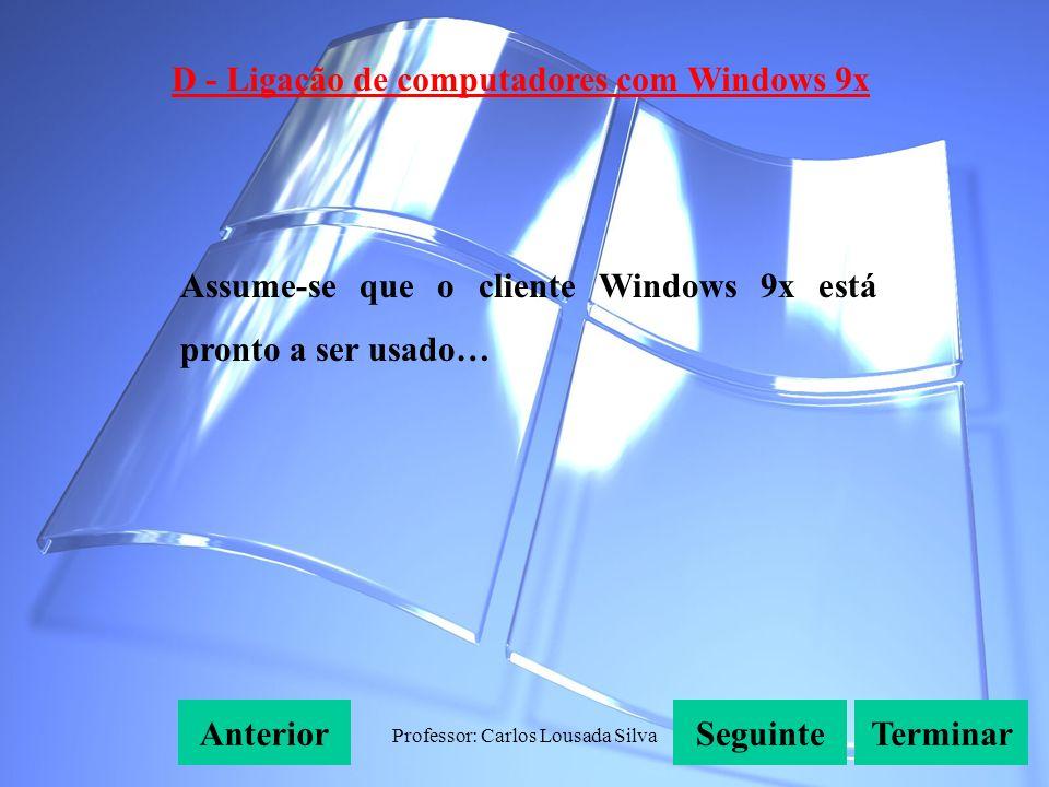 Professor: Carlos Lousada Silva D - Ligação de computadores com Windows 9x SeguinteAnteriorTerminar Assume-se que o cliente Windows 9x está pronto a ser usado…