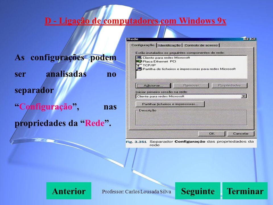Professor: Carlos Lousada Silva D - Ligação de computadores com Windows 9x SeguinteAnteriorTerminar As configurações podem ser analisadas no separadorConfiguração, nas propriedades da Rede.