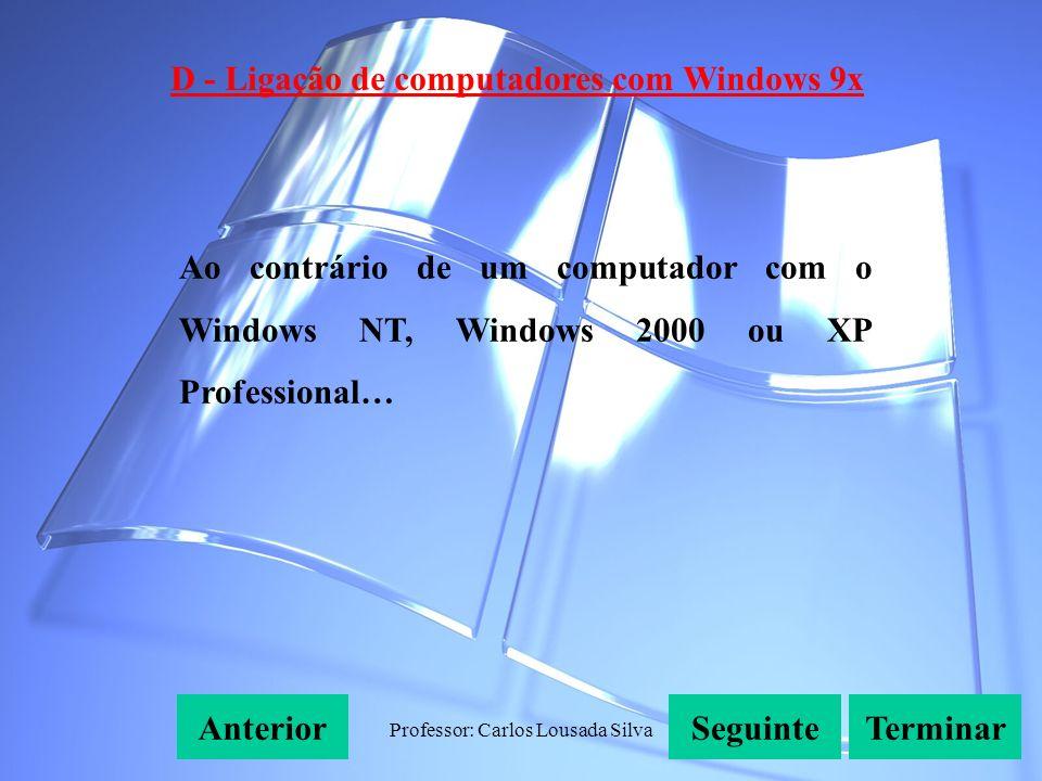 Professor: Carlos Lousada Silva D - Ligação de computadores com Windows 9x SeguinteAnteriorTerminar Ao contrário de um computador com o Windows NT, Windows 2000 ou XP Professional…