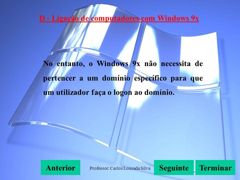 Professor: Carlos Lousada Silva D - Ligação de computadores com Windows 9x SeguinteAnteriorTerminar No entanto, o Windows 9x não necessita de pertencer a um domínio específico para que um utilizador faça o logon ao domínio.