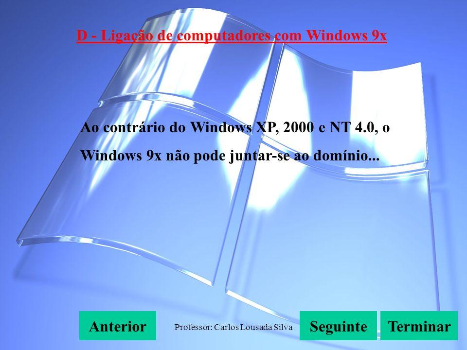 Professor: Carlos Lousada Silva D - Ligação de computadores com Windows 9x SeguinteAnteriorTerminar Ao contrário do Windows XP, 2000 e NT 4.0, o Windows 9x não pode juntar-se ao domínio...