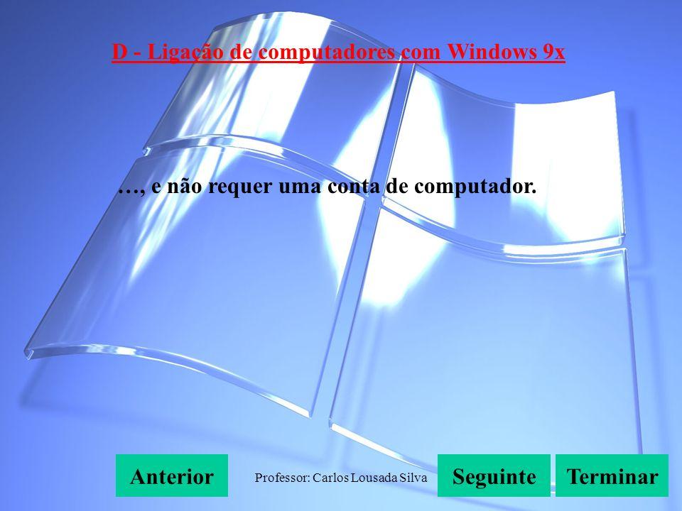Professor: Carlos Lousada Silva D - Ligação de computadores com Windows 9x SeguinteAnteriorTerminar …, e não requer uma conta de computador.