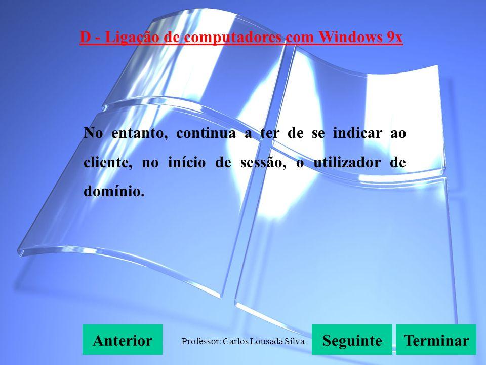 Professor: Carlos Lousada Silva D - Ligação de computadores com Windows 9x SeguinteAnteriorTerminar No entanto, continua a ter de se indicar ao cliente, no início de sessão, o utilizador de domínio.