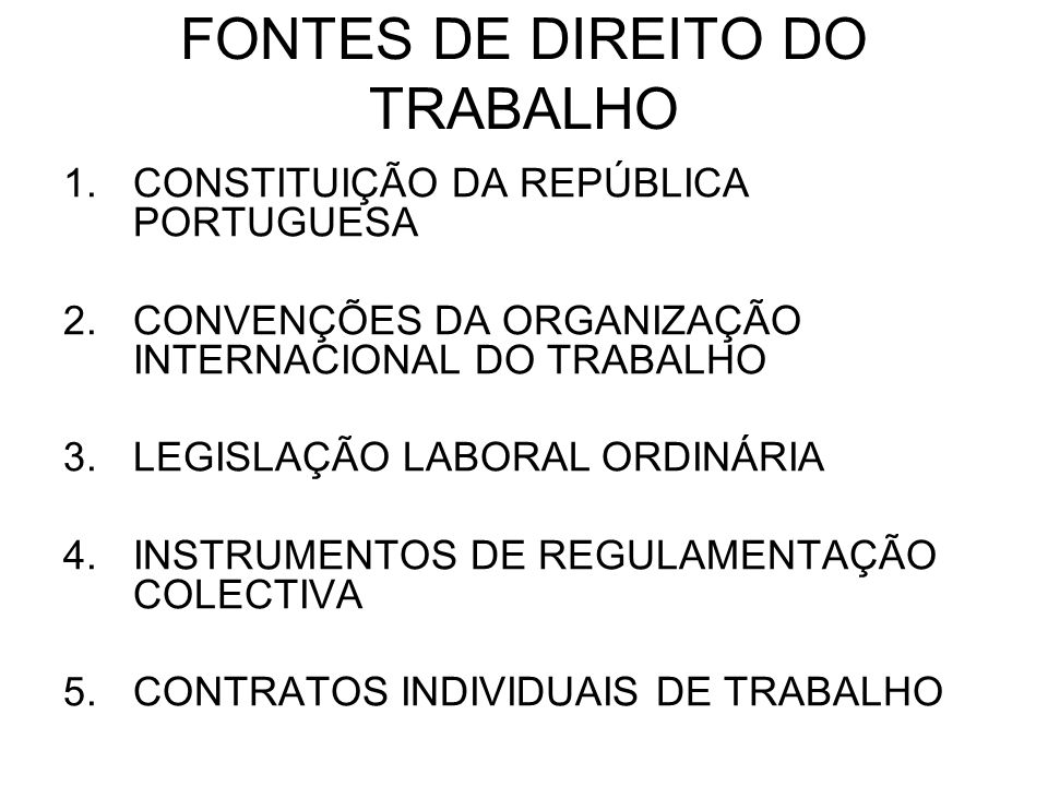 FONTES DE DIREITO DO TRABALHO 1.CONSTITUIÇÃO DA REPÚBLICA PORTUGUESA 2.CONVENÇÕES DA ORGANIZAÇÃO INTERNACIONAL DO TRABALHO 3.LEGISLAÇÃO LABORAL ORDINÁ