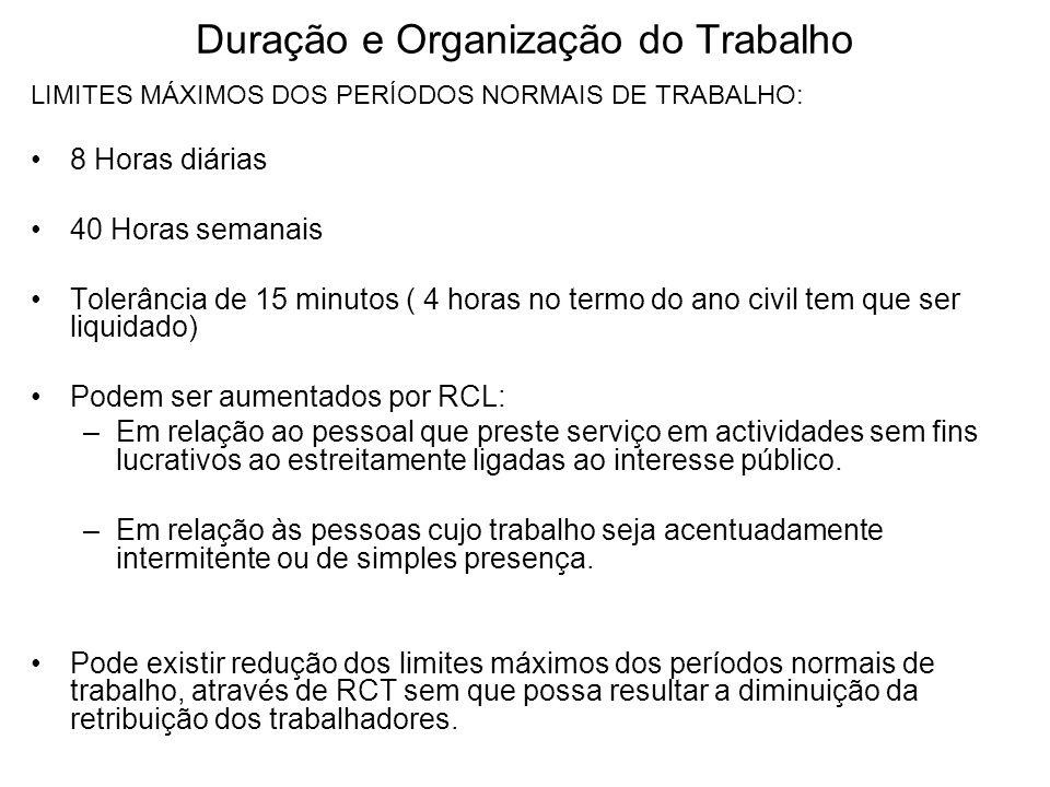 Duração e Organização do Trabalho LIMITES MÁXIMOS DOS PERÍODOS NORMAIS DE TRABALHO: 8 Horas diárias 40 Horas semanais Tolerância de 15 minutos ( 4 hor