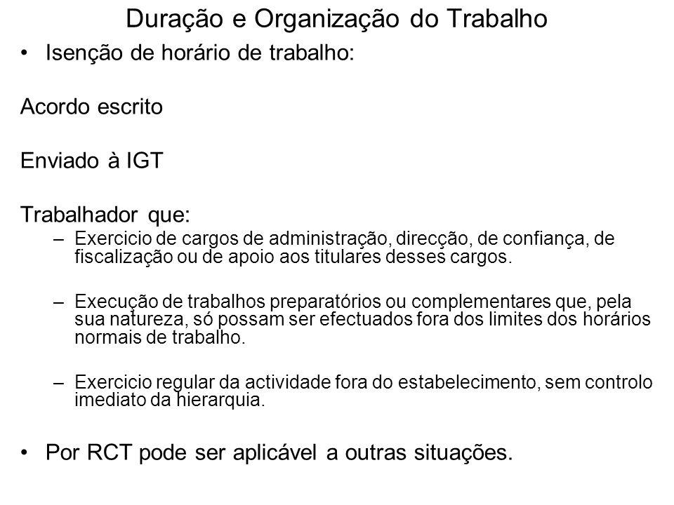 Duração e Organização do Trabalho Isenção de horário de trabalho: Acordo escrito Enviado à IGT Trabalhador que: –Exercicio de cargos de administração,