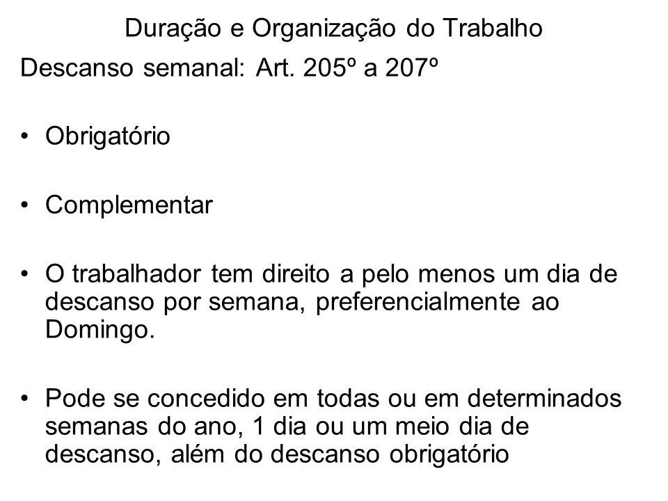 Duração e Organização do Trabalho Descanso semanal: Art. 205º a 207º Obrigatório Complementar O trabalhador tem direito a pelo menos um dia de descans
