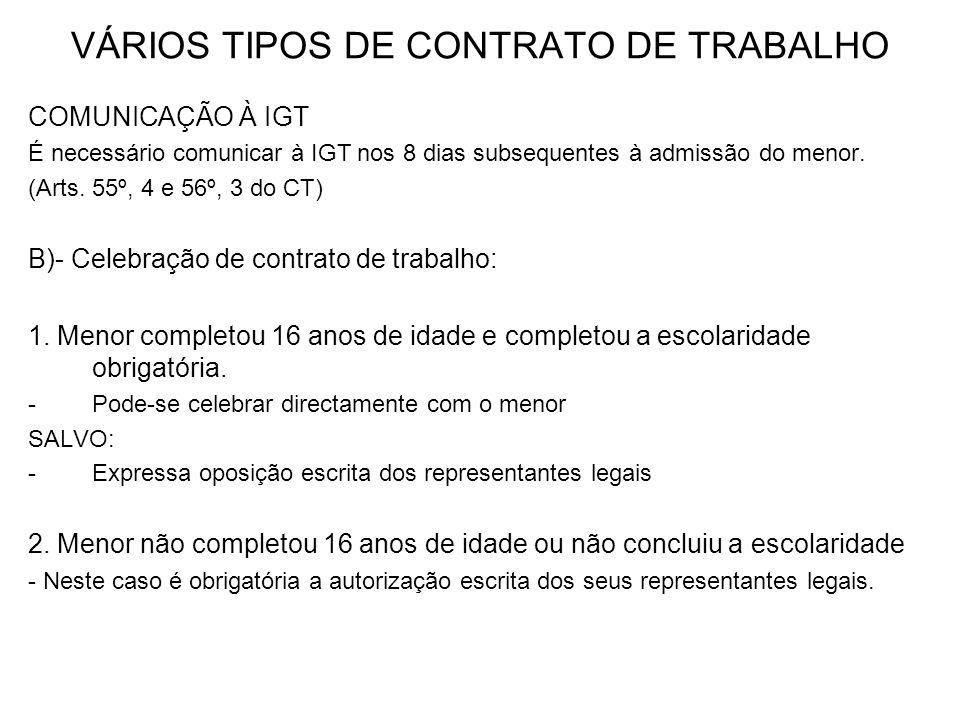 VÁRIOS TIPOS DE CONTRATO DE TRABALHO COMUNICAÇÃO À IGT É necessário comunicar à IGT nos 8 dias subsequentes à admissão do menor. (Arts. 55º, 4 e 56º,