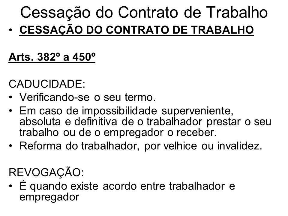 Cessação do Contrato de Trabalho CESSAÇÃO DO CONTRATO DE TRABALHO Arts. 382º a 450º CADUCIDADE: Verificando-se o seu termo. Em caso de impossibilidade