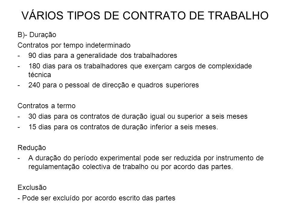 VÁRIOS TIPOS DE CONTRATO DE TRABALHO B)- Duração Contratos por tempo indeterminado -90 dias para a generalidade dos trabalhadores -180 dias para os tr