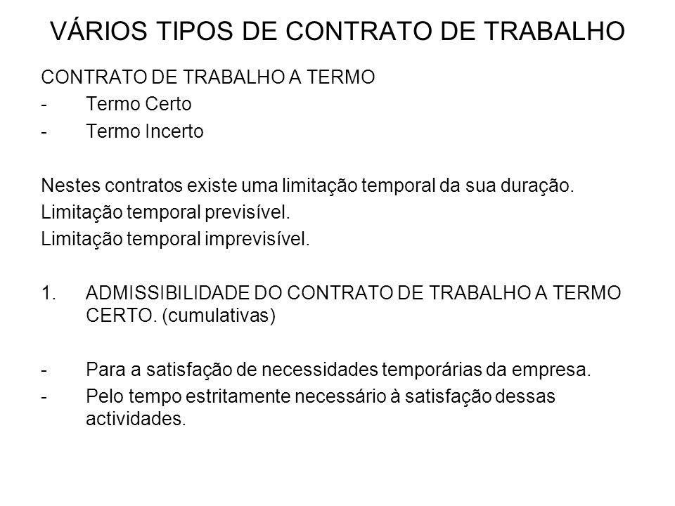 VÁRIOS TIPOS DE CONTRATO DE TRABALHO CONTRATO DE TRABALHO A TERMO -Termo Certo -Termo Incerto Nestes contratos existe uma limitação temporal da sua du